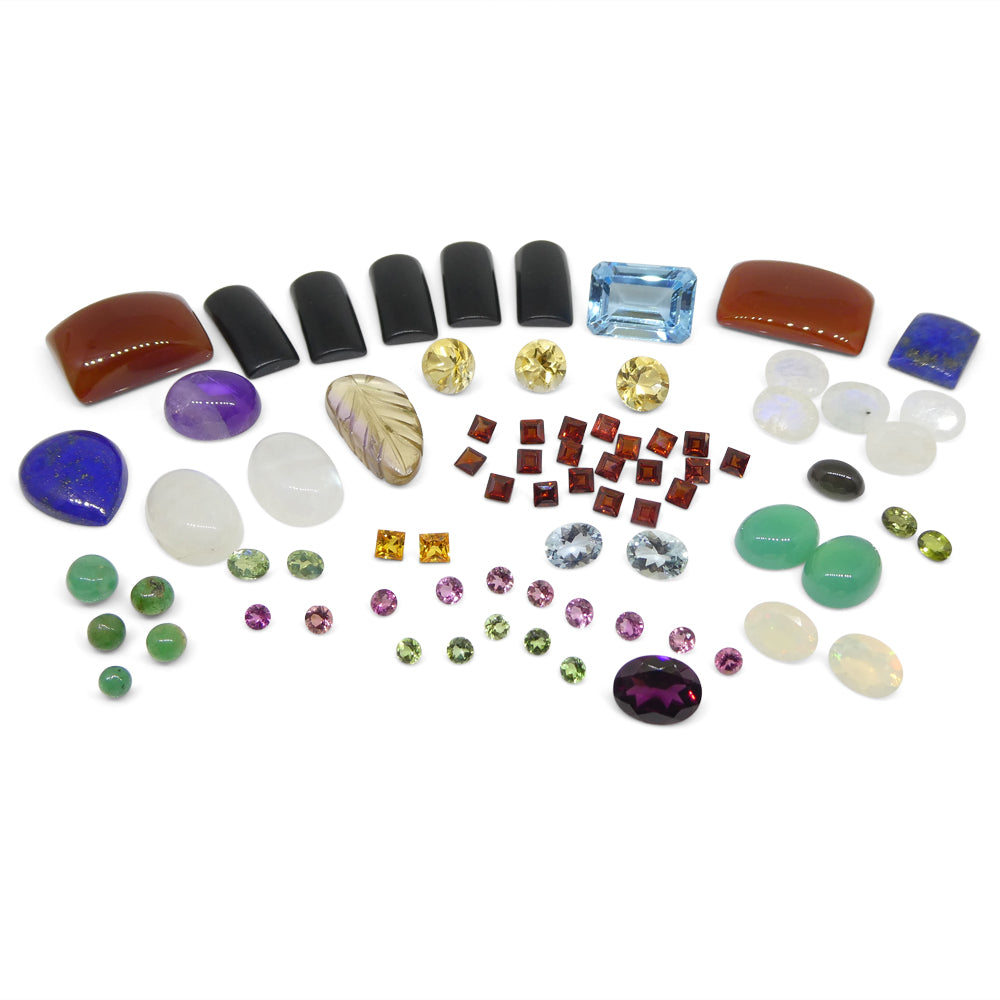 100cts+ Mixed Gem Beginner Lot: Sapphire, Emerald, Opal, Amethyst, Citrine, Moonstone AND MORE!