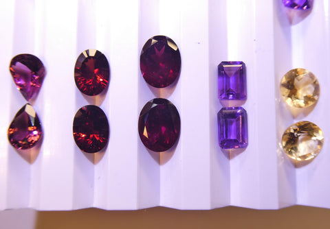 10 Pairs Faceted Gems for Manufacturing: Emerald, Tourmaline, Rhodolite, Aquamarine and more! Wholesale Lot.