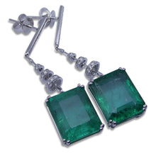 Pair 19.18 ct GIA Certified Emerald Earrings 18kt White Gold with 0.48 ct Diamonds