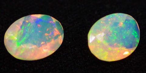 2 Stones - 0.86 ct Opal 7x5mm Faceted Oval
