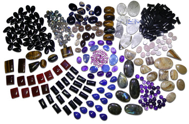 3000cts+++ Cabochon Gemstone Wholesale Lot: Pink Tourmaline, Amethyst, Lapis, Rose/Pink Quartz, Labradorite, Carnelian and much more!!!