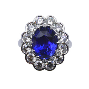 4.64ct GIA Certified Color Change Sapphire & Diamond Scallop Ring in 18kt White Gold