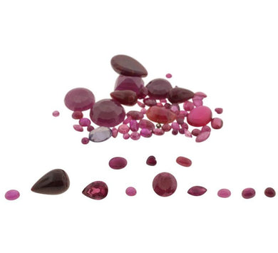 64.91cts 69 stones Ovals, Rounds, Marquise, Pears Glass Filled Ruby Parcel Wholesale Lot