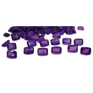 4 Stones - 5.96 ct Amethyst 8x6mm Cushion