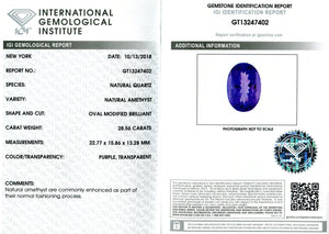 28.56 ct Amethyst Oval IGI Certified