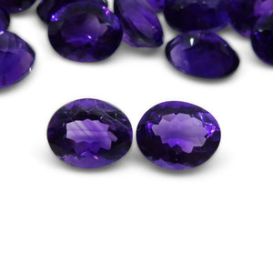 2 Stones - 4.90 ct Amethyst 10x8mm Oval