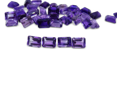 4 Stones - 5.80 ct Amethyst 8x6mm Octagon
