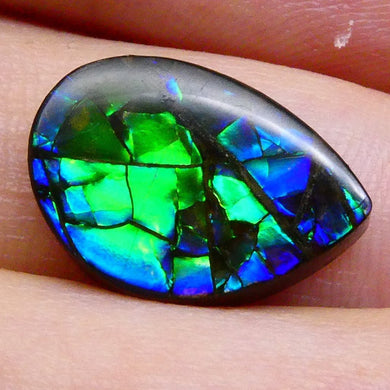 5.90 ct Freeform Tablet Blue and Purple Dragon Skin Pattern Ammolite