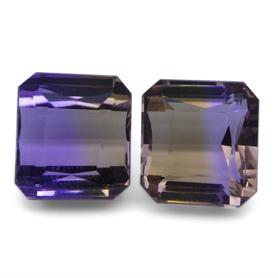 Ametrine 20.6 cts 12.23x12.21x8.91 mm and 12.07x11.40x9.23mm Square Yellow / Purple $450