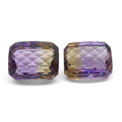 40.61 ct Pair Cushion Checkerboard Ametrine - Skyjems Wholesale Gemstones