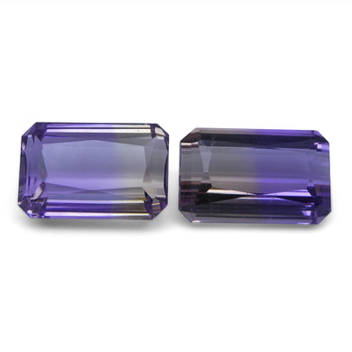 Ametrine 22.76 cts 16.45x10.28x8.07 mm and 15.87x10.54x8.08 mm Emerald Cut Yellow / Purple $500