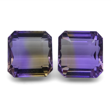 Ametrine 25.58 cts 13.17x12.67x9.66 mm and 13.25x12.60x8.44mm Emerald Cut Yellow / Purple $560