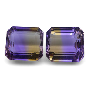 Ametrine 24.26 cts 13.26x12.05x8.46 mm and 13.60x12.46x8.92mm Emerald Cut Yellow / Purple $530