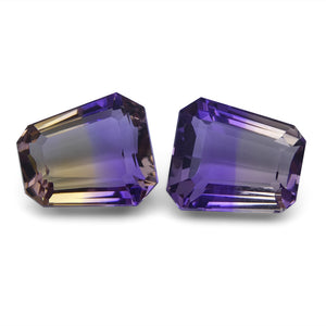 Ametrine 19.97 cts 14.31x12.60x8.17 mm and 13.99x12.37x8.08 mm Sheild Yellow / Purple $440