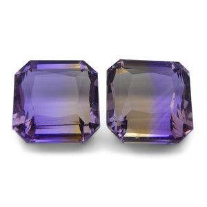 Ametrine 21 cts 12.43x12.29x8.52 mm and 12.62x12.37x8.04 mm Square Yellow / Purple $460