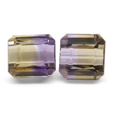 19.01 ct Pair Emerald Cut Ametrine - Skyjems Wholesale Gemstones