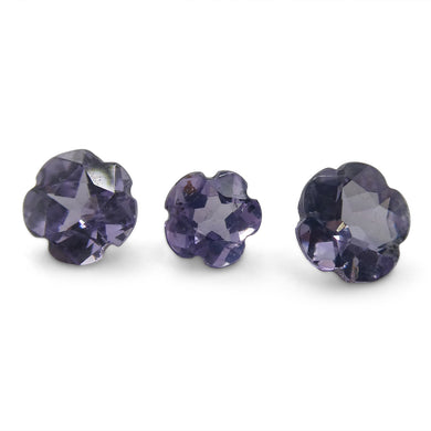 1.80ct Flower Violet Sapphire 3 Stone Set - Skyjems Wholesale Gemstones