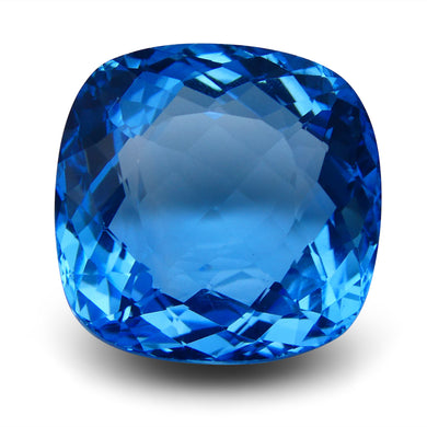 Swiss Blue Topaz 59.8 cts 27.79x21.55x13.43mm Cushion Blue    $435