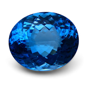 Swiss Blue Topaz 83.06 cts 27.53x22.89x15.94mm Oval Blue    $600