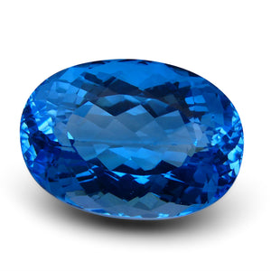 Swiss Blue Topaz 61.65 cts 26.20x18.66x14.88mm Oval Blue    $445