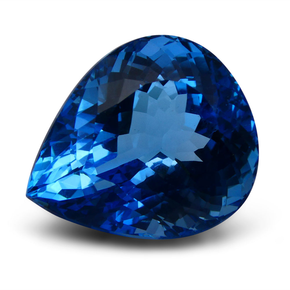 Swiss Blue Topaz 66.17 cts 26.40x22.39x16.06mm Pear Blue    $480