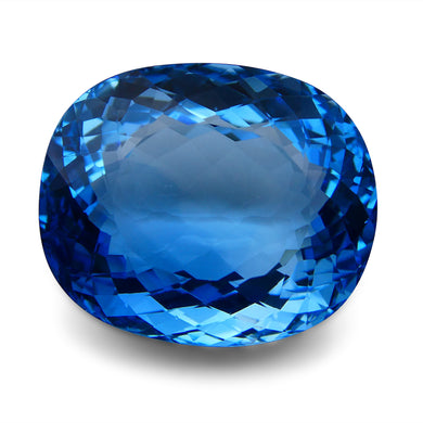 Swiss Blue Topaz 87.06 cts 28.25x23.60x14.59mm Cushion Blue    $630