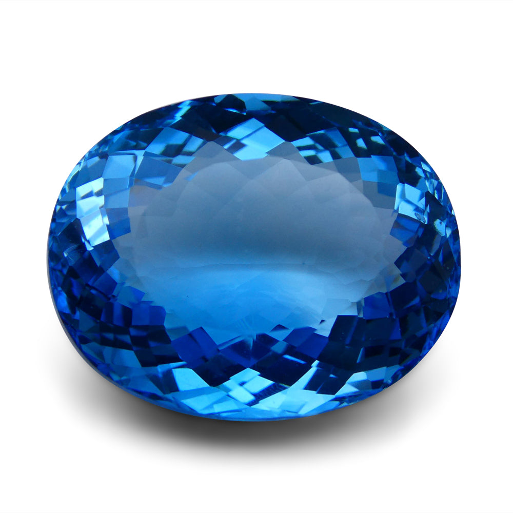 Swiss Blue Topaz 67.63 cts 27.51X21.78X13.27mm Oval Blue    $490