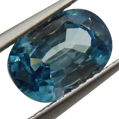 Blue Zircon 4.02cts 10.69x6.51x5.21mm Oval Blue $300