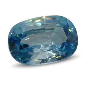 Blue Zircon 4.07cts 11.3x7.65x4.45mm Oval Blue $305