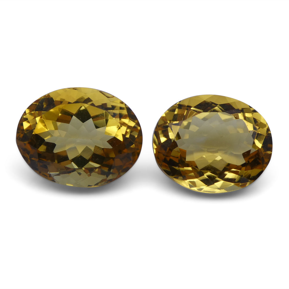 Citrine 10.42 cts 12.20x10.18x6.40 mm and 12.62x10.18x7.75 mm Oval Yellow $80