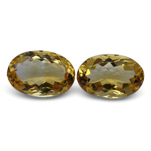 Citrine 11.17 cts 14.38x9.76x6.59 mm and 14.19x9.42x6.76 mm Oval Yellow $90