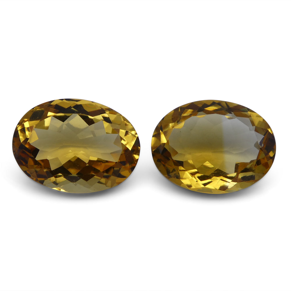 Citrine 8.65 cts 12.86x9.50x6.27 mm and 12.73x9.67x5.47 mm Oval Yellow $70