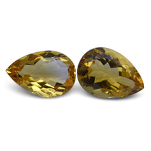 Citrine 10.2 cts 14.48x10.16x7.01 mm and 14.50x9.72x5.85 mm Pear Yellow $80