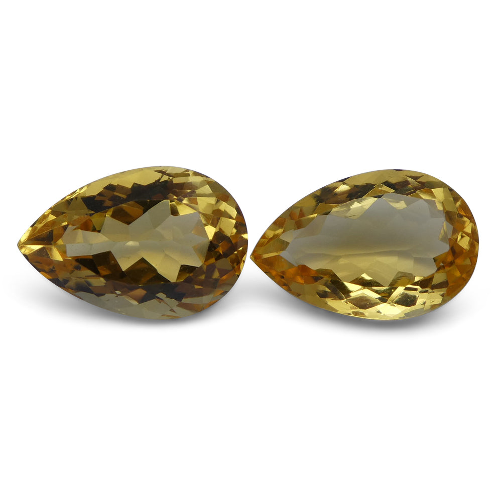 Citrine 7.44 cts 12.95x8.52x5.37 mm and 12.73x8.63x6.68 mm Pear Yellow $60