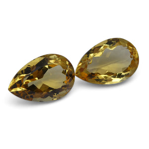 7.44 ct Pair Pear Citrine