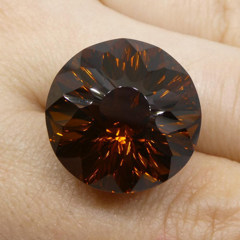 29.95ct Round Cognac Citrine Fantasy/Fancy Cut