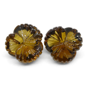 10.15ct Flower Citrine Fantasy/Fancy Cut Pair - Skyjems Wholesale Gemstones
