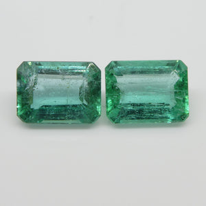 Emerald Pair 3.18cts 8.23x6.10x4.13mm to 8.17x6.22x3.71mm Emerald Cut slightly bluish Green $580
