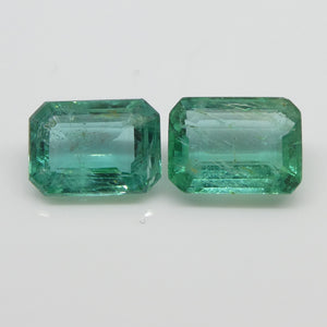 Emerald Pair 3.04cts 8.14x5.93x3.78mm to 8.22x6.16x3.82mm Emerald Cut slightly bluish Green $550