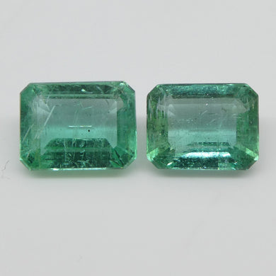 Emerald Pair 3.29cts 7.79x6.08x4.01mm to 8.13x6.18x4.18mm Emerald Cut slightly bluish Green $600