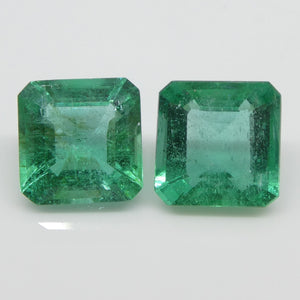 Emerald Pair 3.15cts 7.16x7.12x4.08mm to 7.14x7.02x4.58mm Square very slightly bluish Green $1260