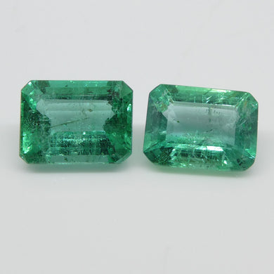 Emerald Pair 3.33cts 8.20x6.21x4.52mm to 8.21x6.13x3.95mm Emerald Cut very slightly bluish Green $1340