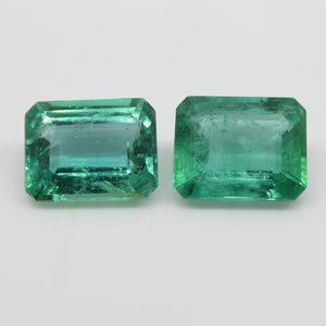 Emerald Pair 4.47cts 9.14x7.15x4.52mm to 9.04x7.04x4.35mm Emerald Cut very slightly bluish Green $1790
