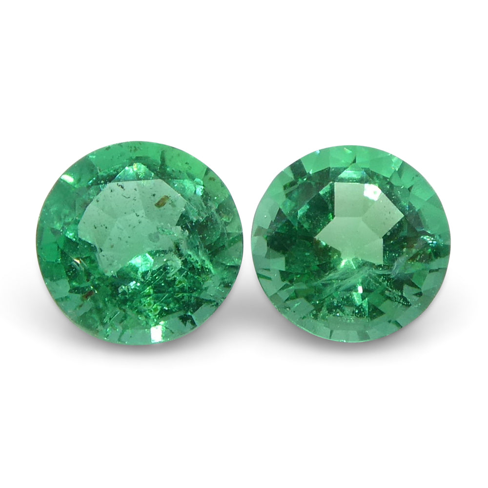 0.42 ct Round Emerald Pair