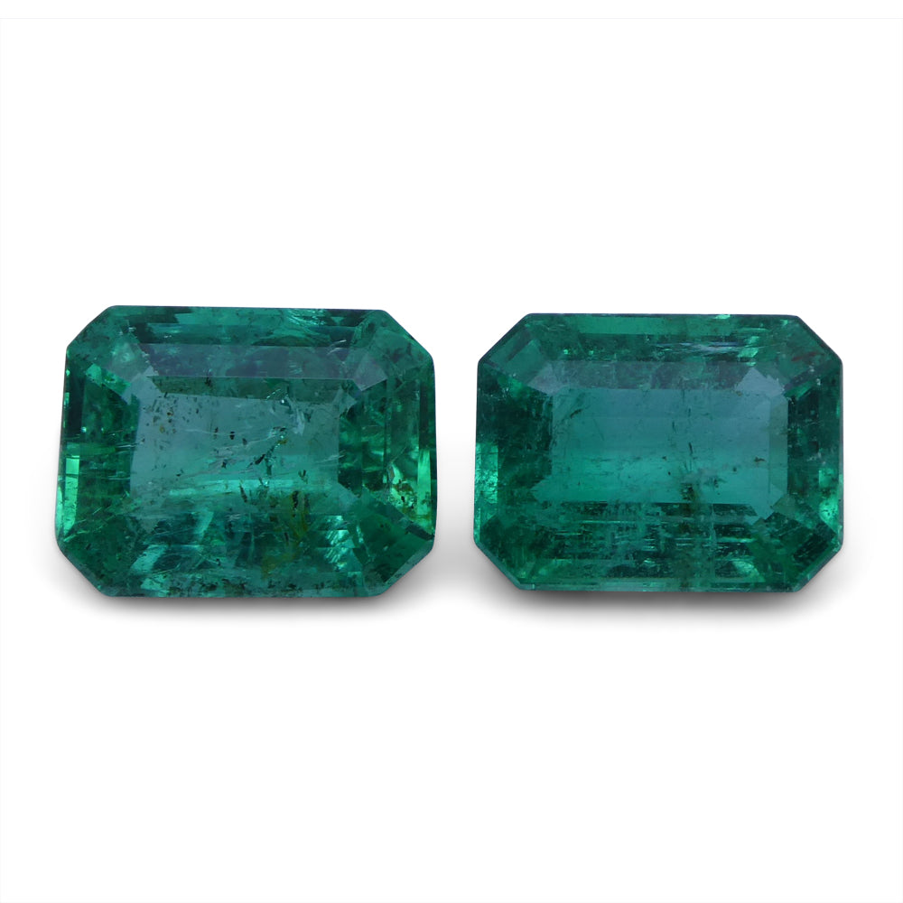 Emerald 3.06 cts 8.28x6.36x3.90 mm and 8.10x6.09x4.14mm Emerald Cut Green $1840