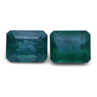 Emerald 5.02 cts 8.89x6.99x5.74 mm and 8.88x7.08x4.75mm Emerald Cut Green $3510