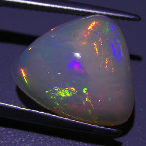 Opal 10.44cts 17.73x15.14x9.30mm Trillion Base: White/Off White With Multicolor Flash  $530