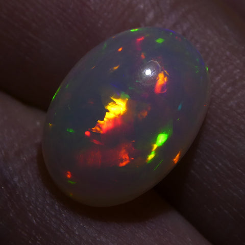 3.80ct Oval Cabochon White Opal