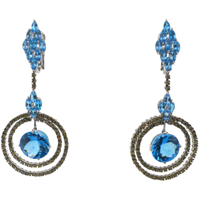 Heavy 18kt White Gold, Blue Topaz & Diamond Earrings Certified