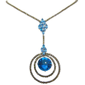 Amazing 18kt White Gold, Blue Topaz & Diamond Necklace